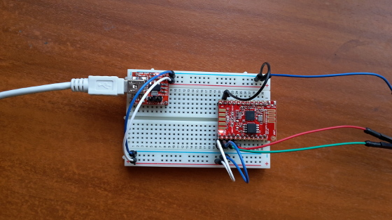 ESP8266, Olimex model MOD-WIFI-ESP8266-DEV, in bootloader, aka flash mode.