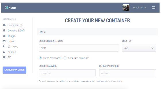 Type in name and password of the Linux container in Kyup web interface
