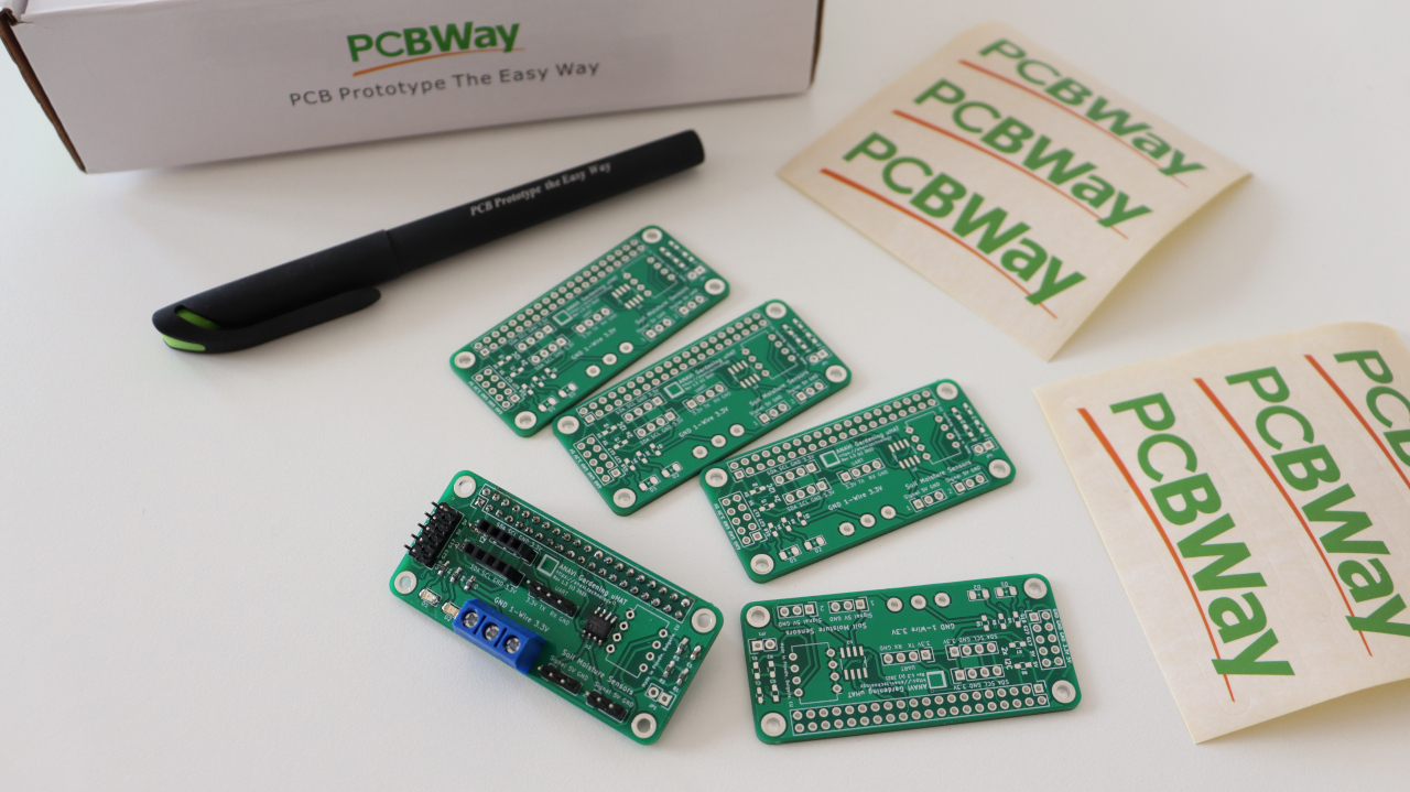 PCBWay prototype for a Raspberry Pi add-on board with Microchip MCP3002 ADC