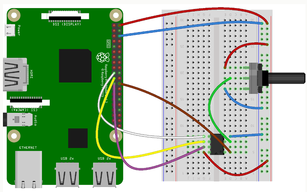 Raspberry Pi Analog to Digital Conveter ADC Microchip MCP3002