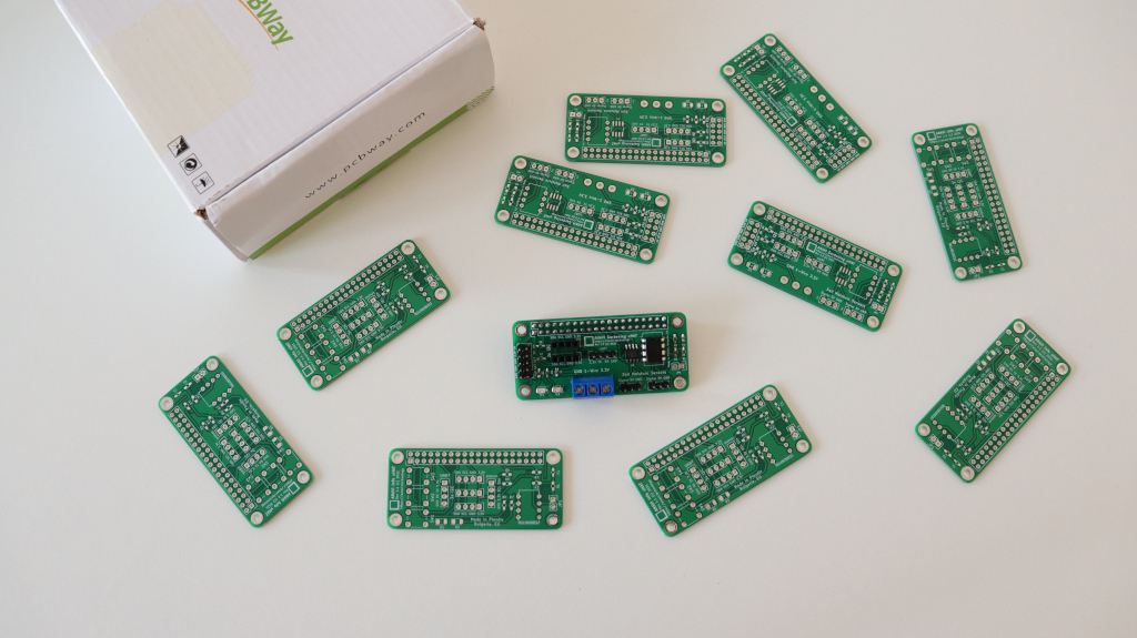 PCBWay prototype for a Raspberry Pi add-on board with Microchip MCP3002 ADC for soil moisture sensors